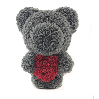 40 CM Standing Rose Bear With Heart