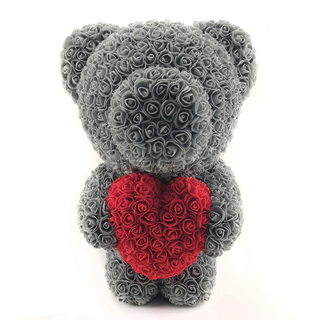 60 CM Standing Rose Bear With Heart